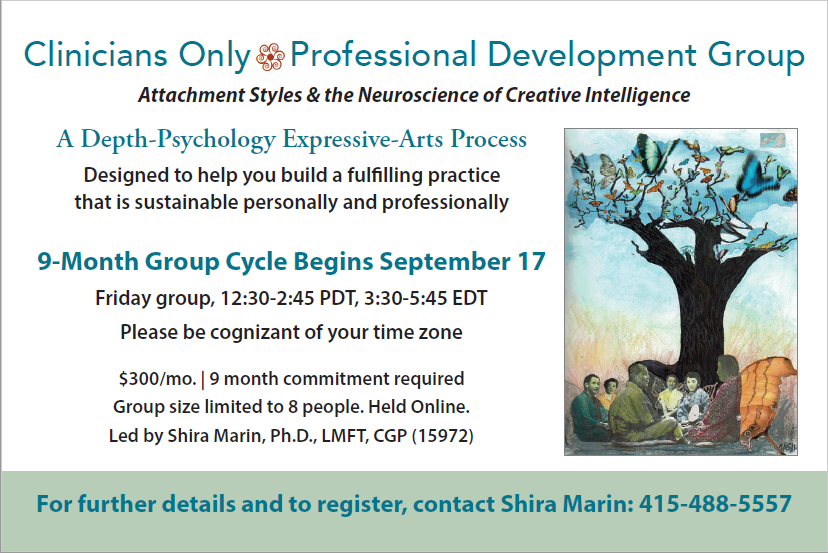 Clinicians Only Professional Development Group led by Shira Marin begins September 17. 415-488-5557